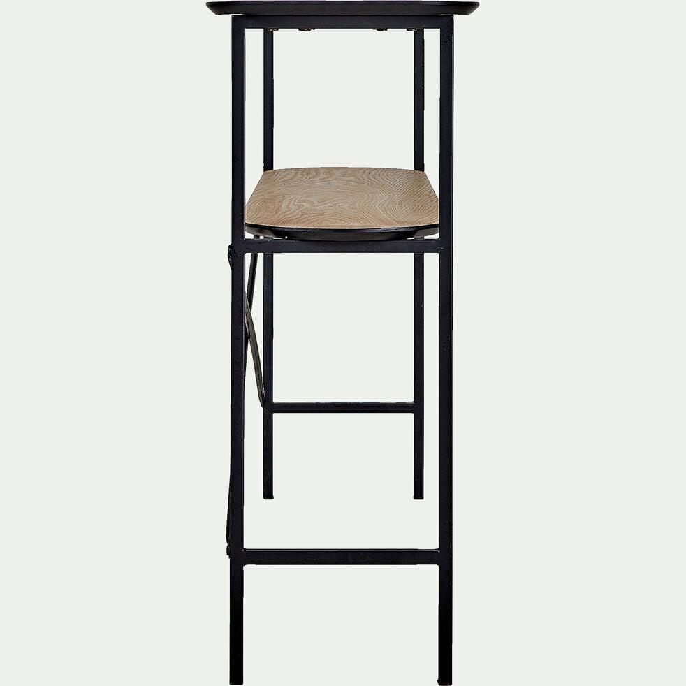 Console plaquée frêne et métal noir-OUNOUR