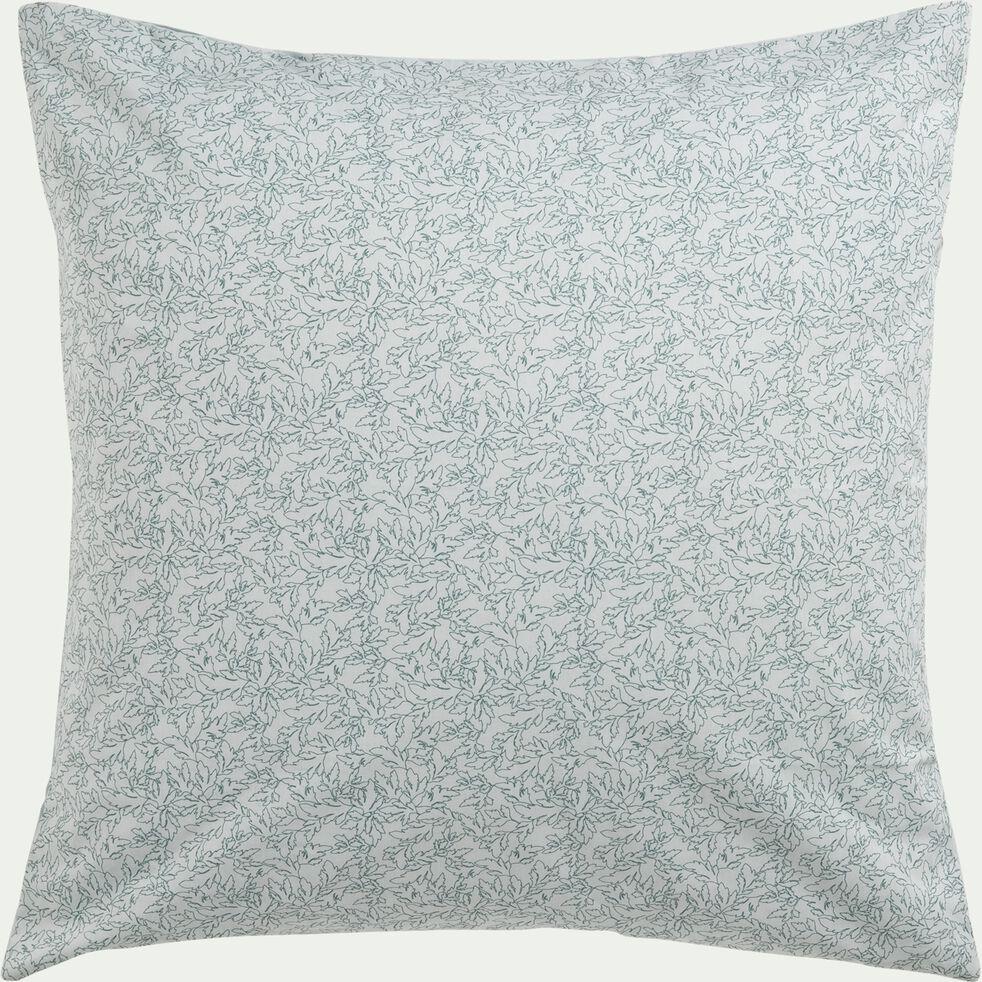 Housse de couette en coton avec 2 taie d'oreiller 63x63 - 260x240 motif vert-ACANTHE