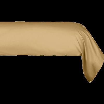 Taie de traversin en percale de coton beige nèfle 43x190 cm-FLORE