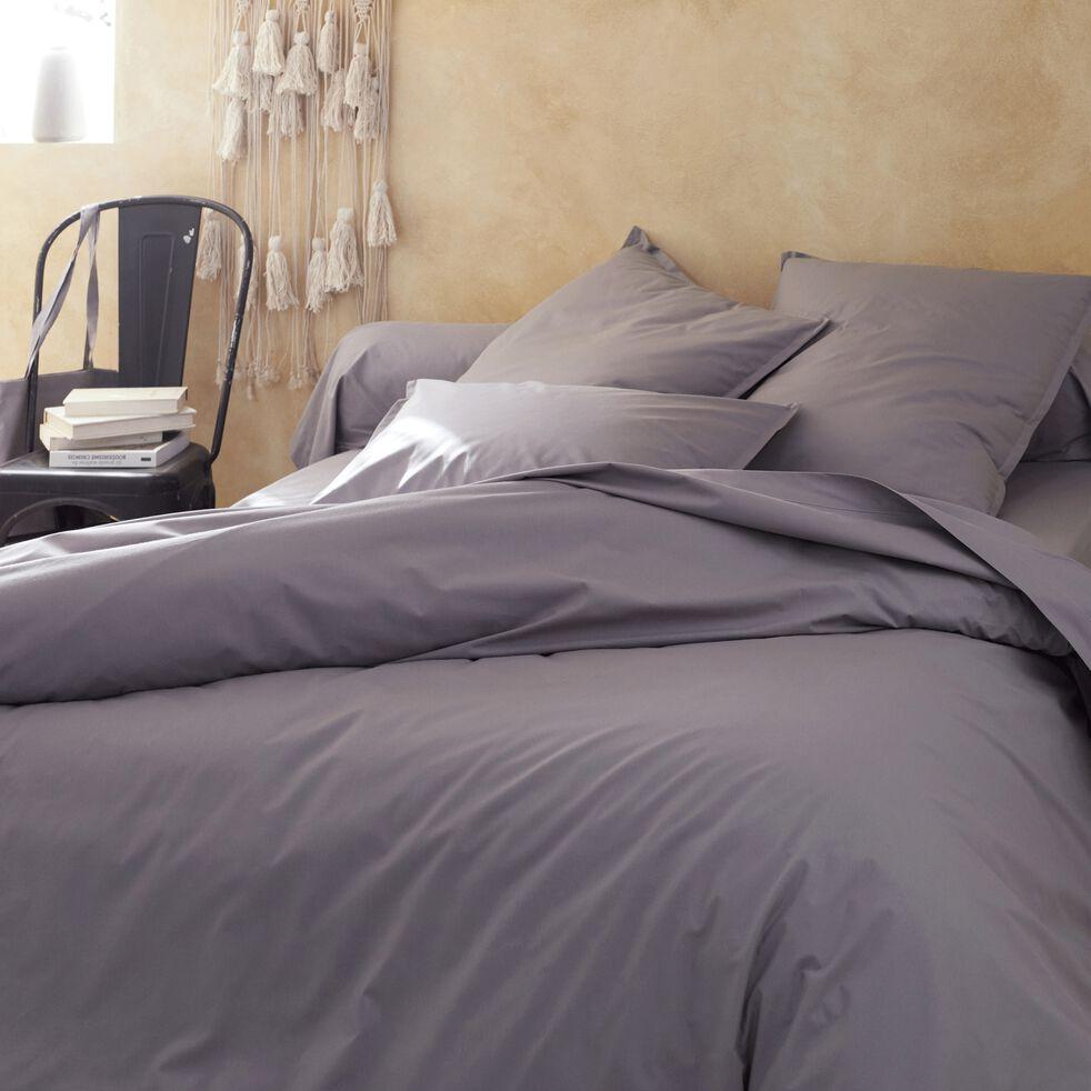 Drap plat en percale de coton - gris restanque 270x300cm-FLORE
