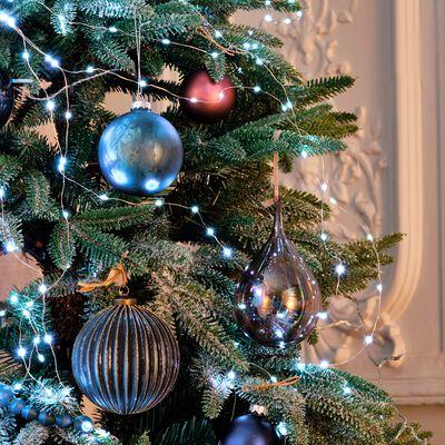 Boule de Noël en verre bleu vert D8cm-FAUSTA