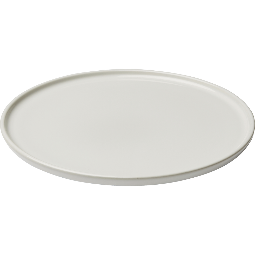 Assiette plate en faïence blanc ventoux D27cm-VADIM