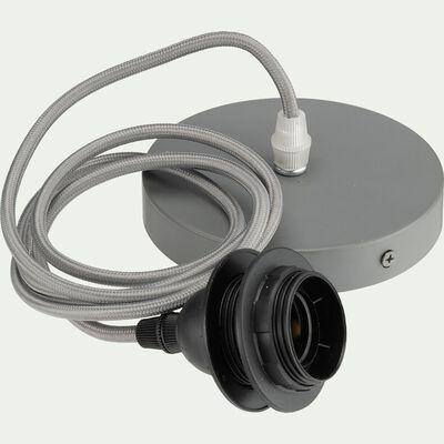Cordon électrique en tissu gris restanque culot E27 L150cm-ARGUIN
