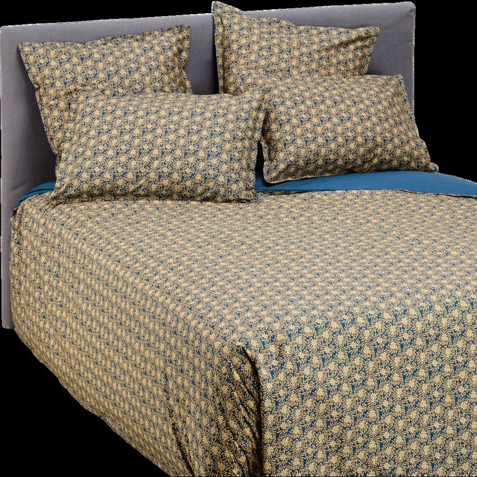 Lot de 2 taies d'oreiller en percale de coton 50x70cm - doré et bleu-LIVIA