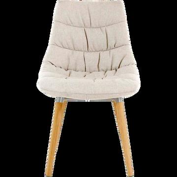 Chaise matelassée en tissu beige avec piétement en bois-JOY