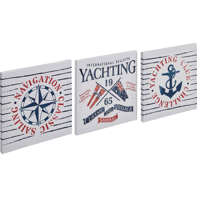 Set de 3 toiles imprimées 30x30cm marin-NAVIGATEUR