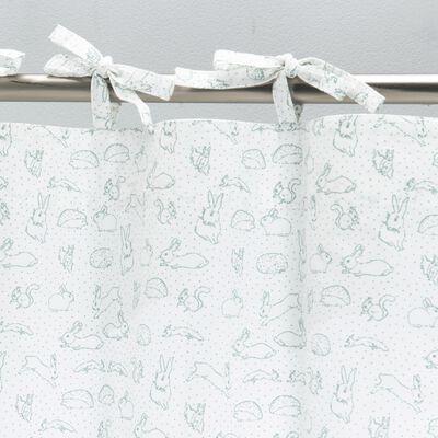 Rideau à nouettes en coton 140x250cm - blanc avec imprimé vert-Bestiaire