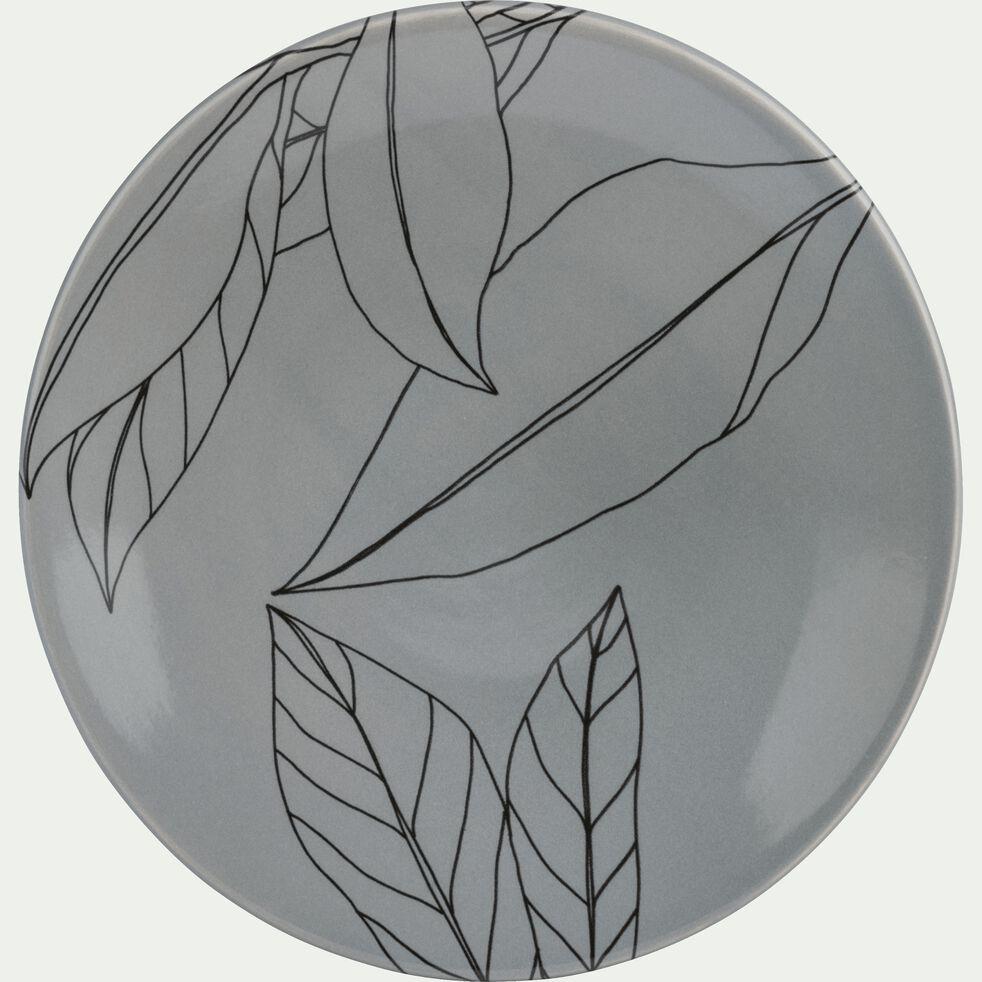 Assiette plate en grès gris restanque décoré D27cm-LAURIER