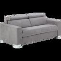 Canapé 3 places convertible en microfibre gris clair-MAURO
