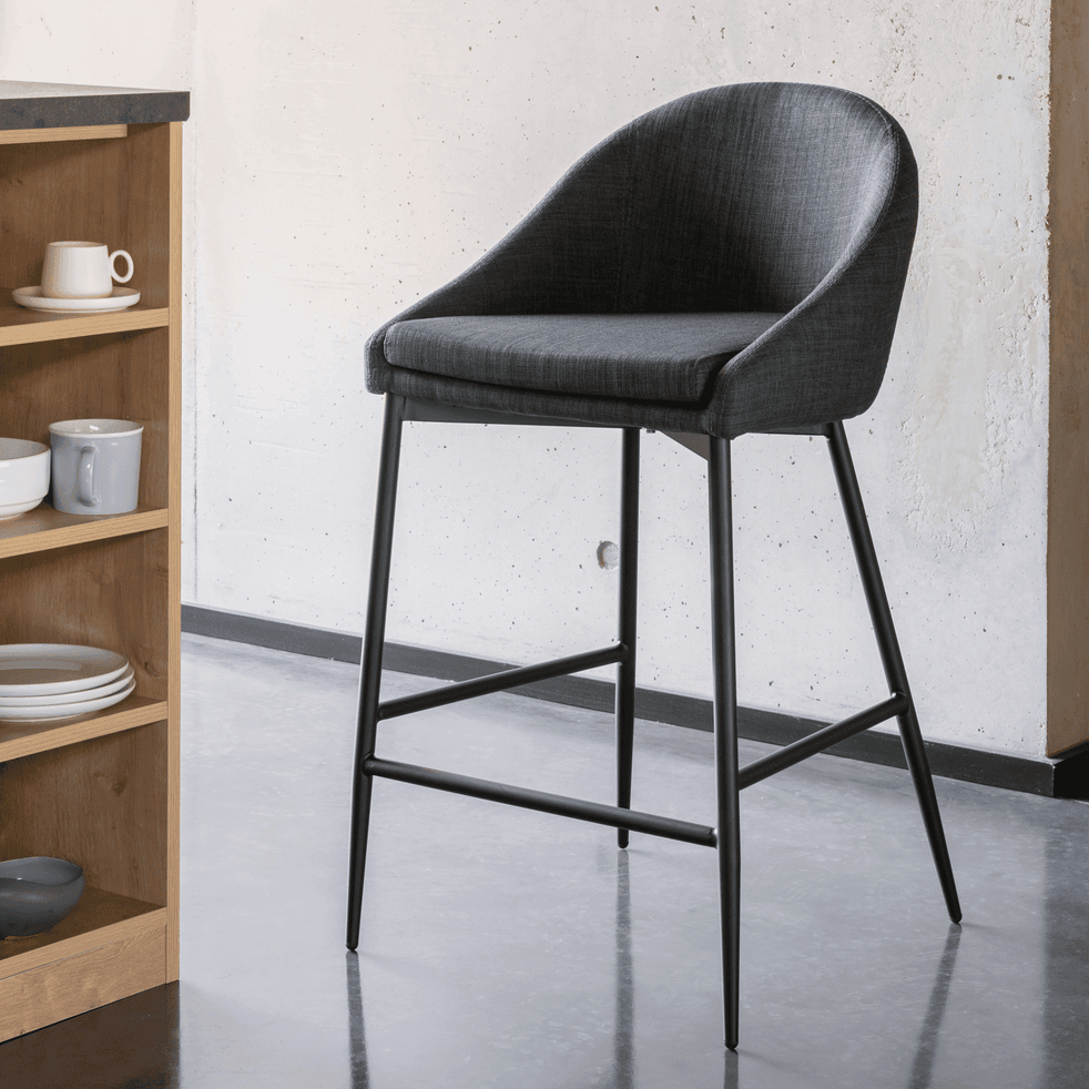 chaise de bar en tissu gris fonc pieds m tal noir h66cm. Black Bedroom Furniture Sets. Home Design Ideas