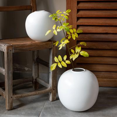 Vase en céramique blanc D25xH27cm-BALA