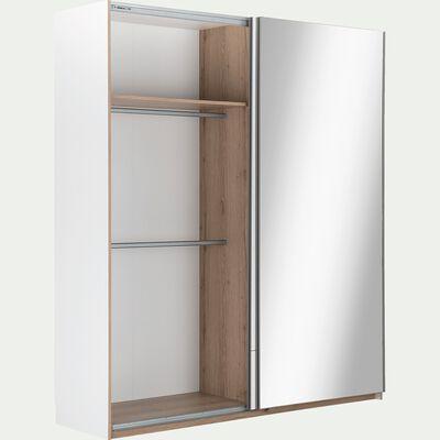 Armoire dressing avec 2 portes coulissantes effet chêne - blanc-NESTOR