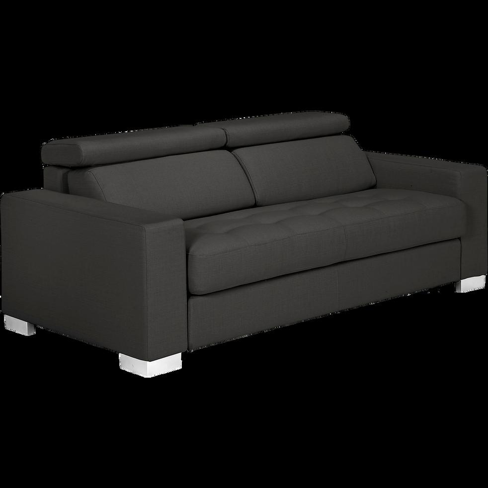 Canapé 3 places convertible en tissu gris-Mauro