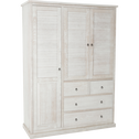 Armoire 3 portes battante 4 tiroirs en pin brossé Blanc-JALOUSIE