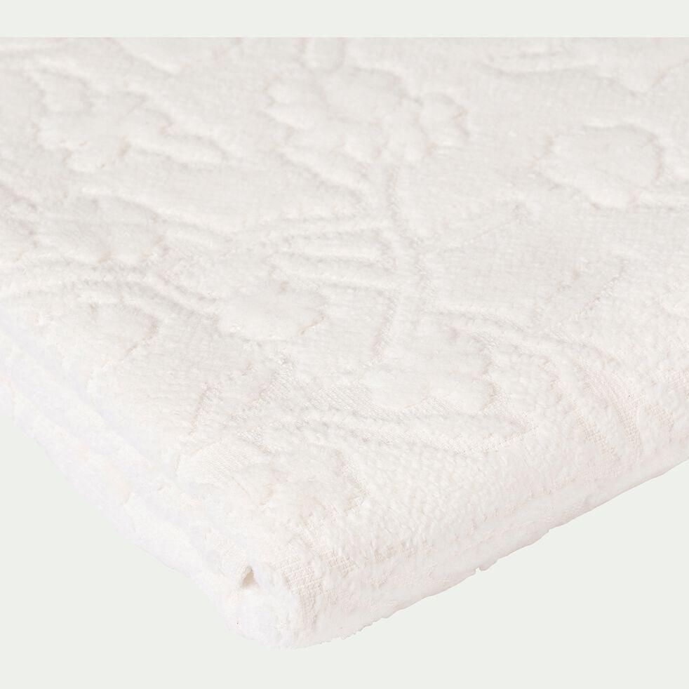 Drap de douche tissé plat en coton brodé - blanc nougat 70x140cm-DANGWA