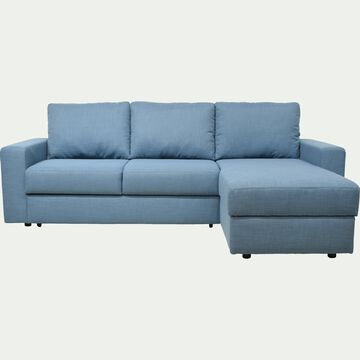 Canapé d'angle réversible convertible en tissu - bleu figuerolles-FERNAND