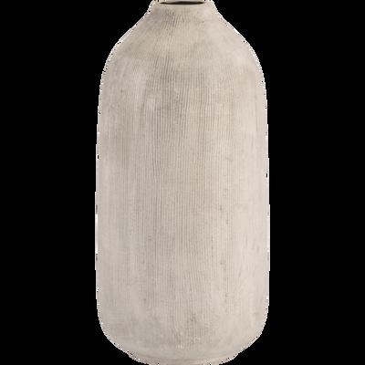 Vase en céramique beige strié H20,5 cm-DISO