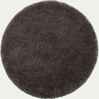 Tapis rond à poils longs - gris D120cm-KRIS