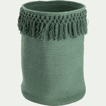 Panier de rangement frangé en coton - vert D30xH45cm-Lisa