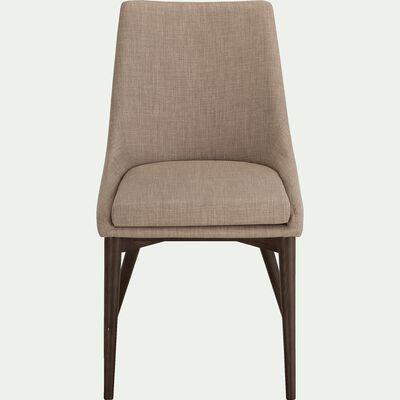 Chaise en tissu beige roucas piètement bois foncé-ABBY