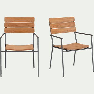Chaise de jardin empilable avec accoudoirs en métal et eucalyptus - naturel-RAMATUELLE