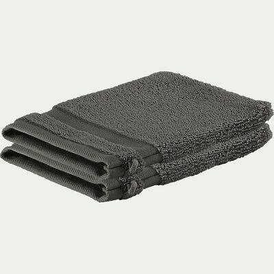 Lot de 2 gants de toilette en coton - gris restanque-Rania