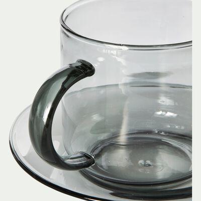Tasse avec sous-tasse en verre gris 35cl-AUBER