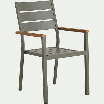 Chaise de jardin avec accoudoirs empilable en aluminium - vert cèdre-ALEP