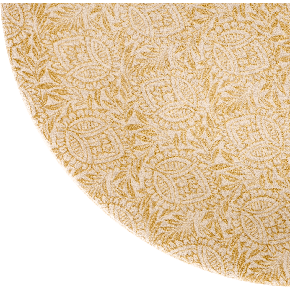 Assiette à dessert en grès jaune décoré D21cm-AMANDE