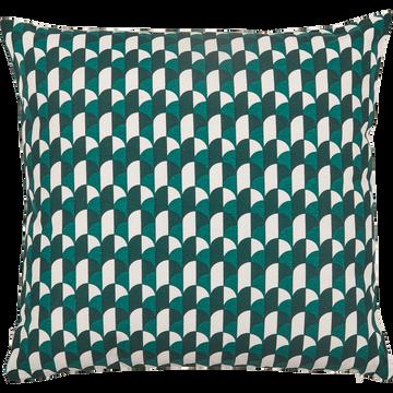 Coussin motifs art déco vert 40x40 cm-CARO