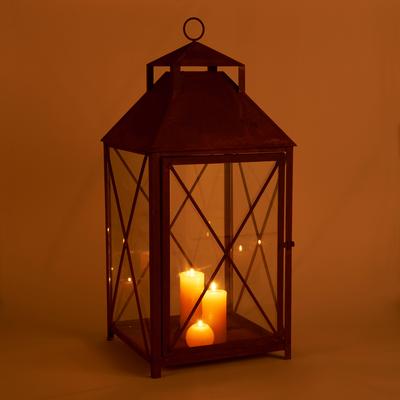 Lanterne en verre et acier effet rouille H95xL42cm-JOVET