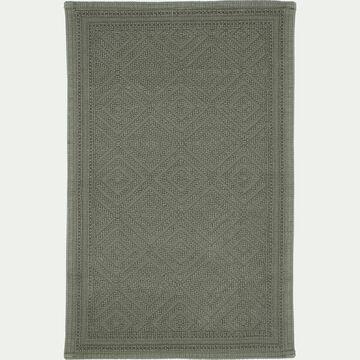 Tapis de bain surpiquage losanges en coton - vert cèdre 50x70cm-SADOU