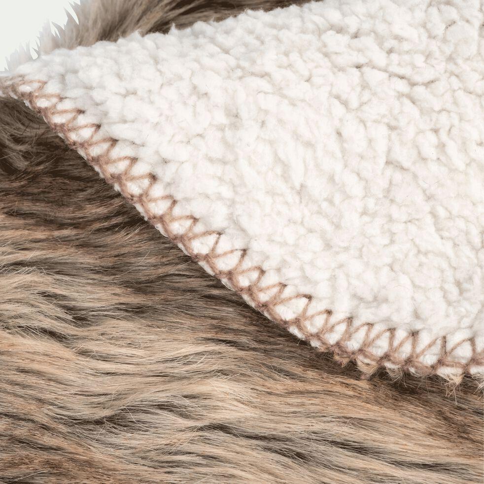 Plaid fausse fourrure en polyester et acrylique - marron 130x170cm-LOUP