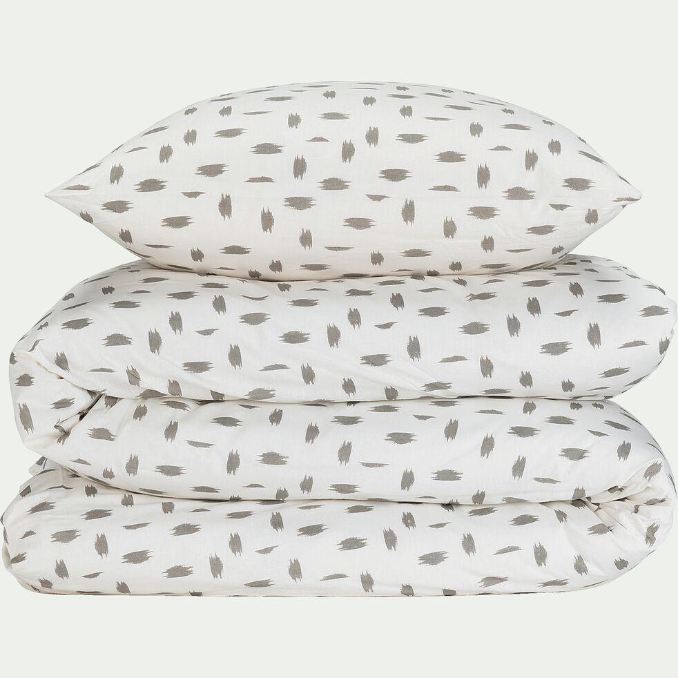 Housse de couette 240x220cm et 2 taies d'oreillers à motif - gris-AUBE
