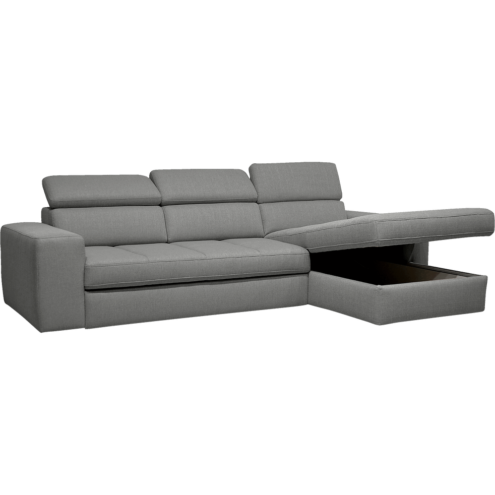 canap d 39 angle droit convertible en tissu gris clair. Black Bedroom Furniture Sets. Home Design Ideas