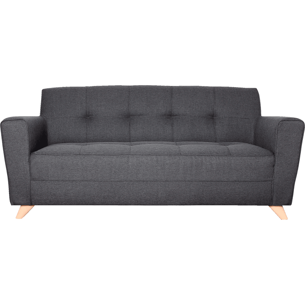 Vicky 3 Places En Fixe Anthracite Canapé Tissu lc1JFK