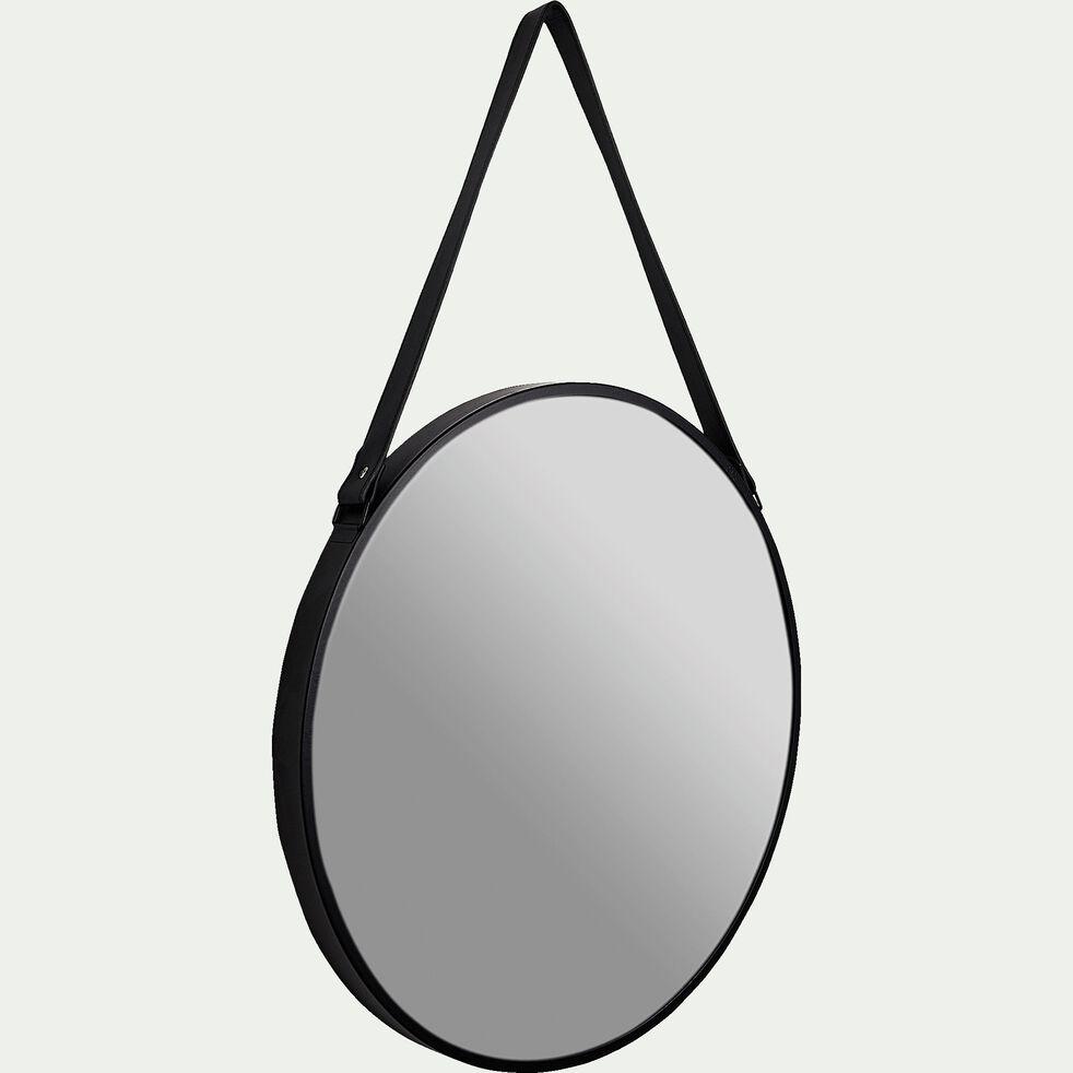 Miroir rond en métal noir D50cm-LACO
