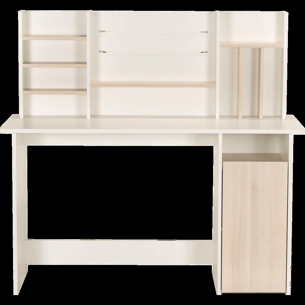 Bureau blanc et effet chêne avec étagères-AMBRE