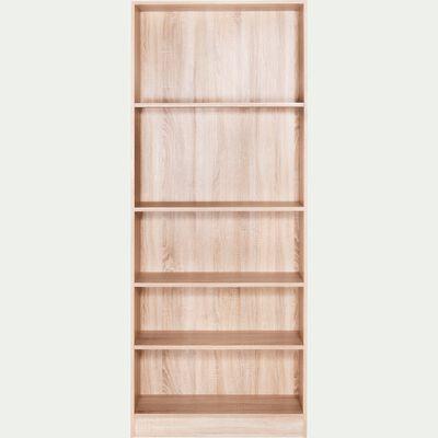 Grande bibliothèque 5 tablettes coloris chêne clair L79cm-Biala