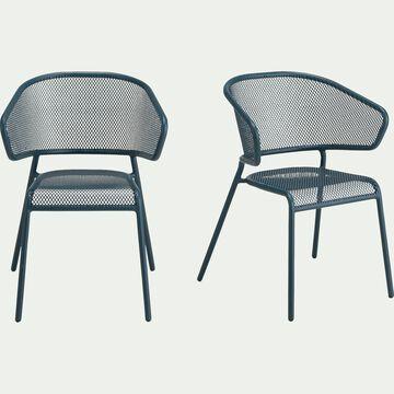 Chaise de jardin avec accoudoirs en acier - bleu figuerolles-RICARDO