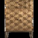 Buffet effet bois foncé et doré H98cm-LEVANTO
