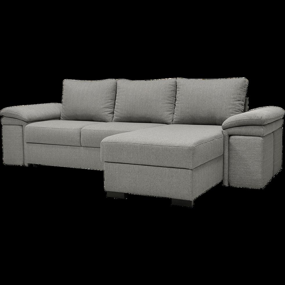 canap d 39 angle r versible convertible en tissu gris clair. Black Bedroom Furniture Sets. Home Design Ideas