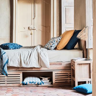 Lit 2 places avec tête de lit en acacia massif - Plusieurs Tailles-GAIA