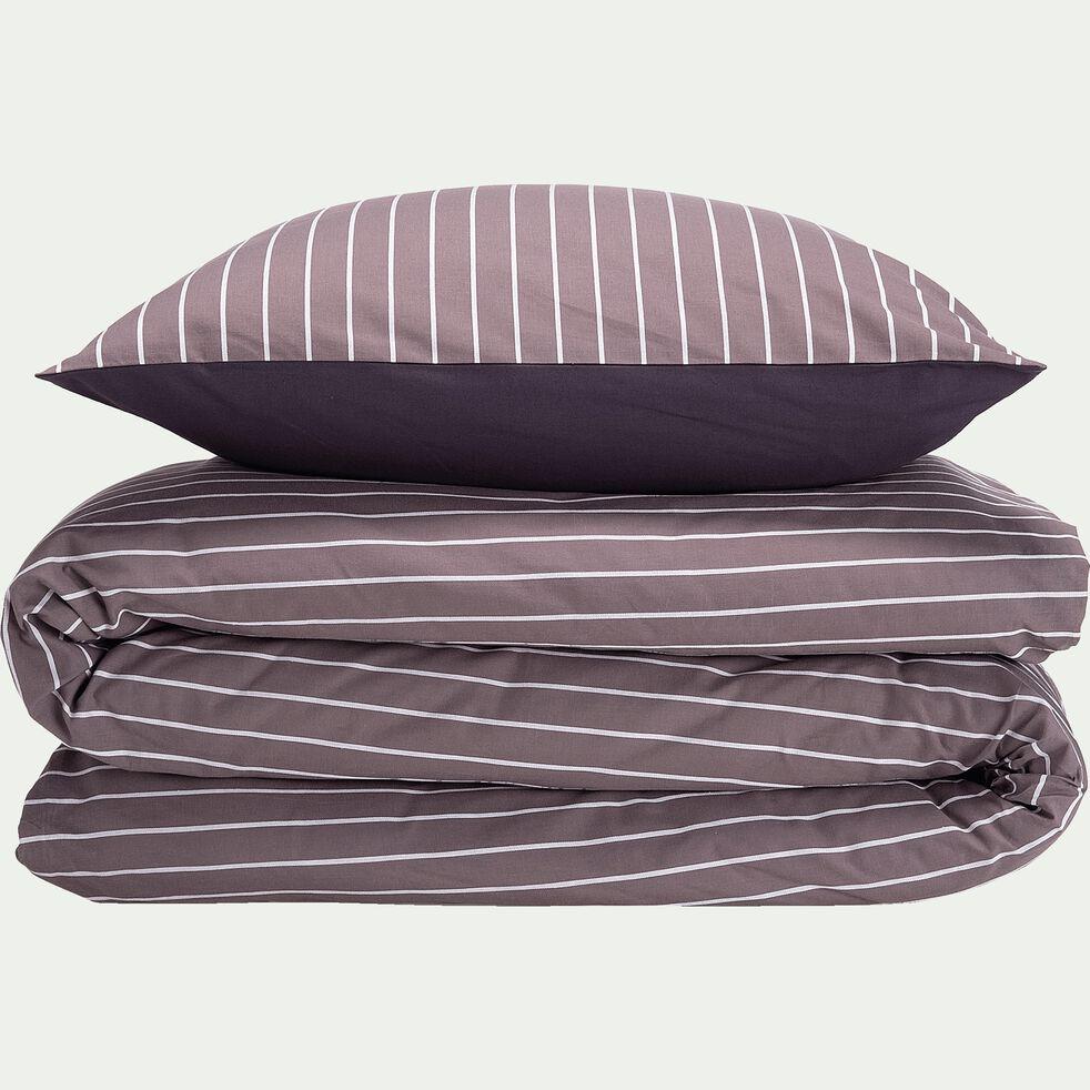 Housse de couette et 2 taies d'oreiller à rayures - gris 240x220cm-ALPHONSE