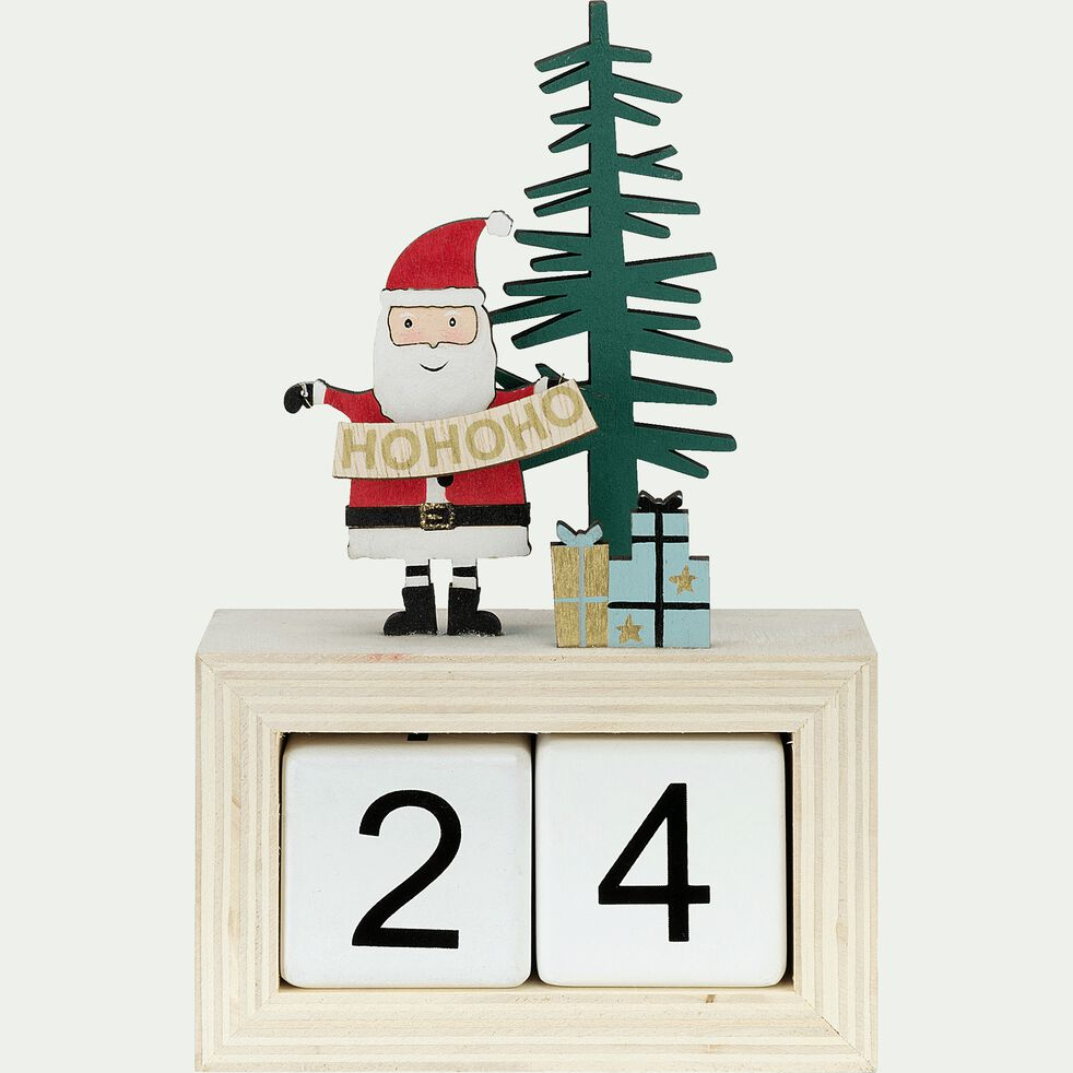 Calendrier de l'avent Père Noël en bois H20cm-COSTAS