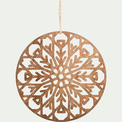 Suspension de Noël 10x10x0,3cm en bois - naturel-VIKRAM