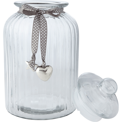 Bonbonnière en verre ruban gris 5L-HELENA