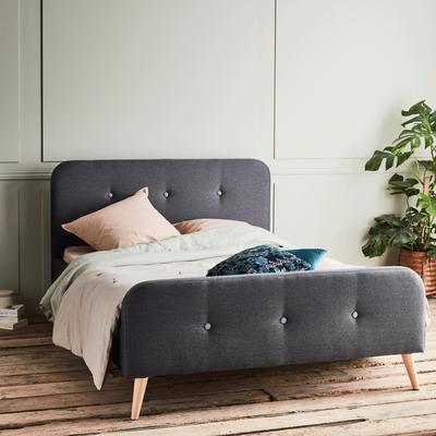 Lit 2 places avec structure et tête de lit en tissu Gris - Plusieurs tailles-AGNES