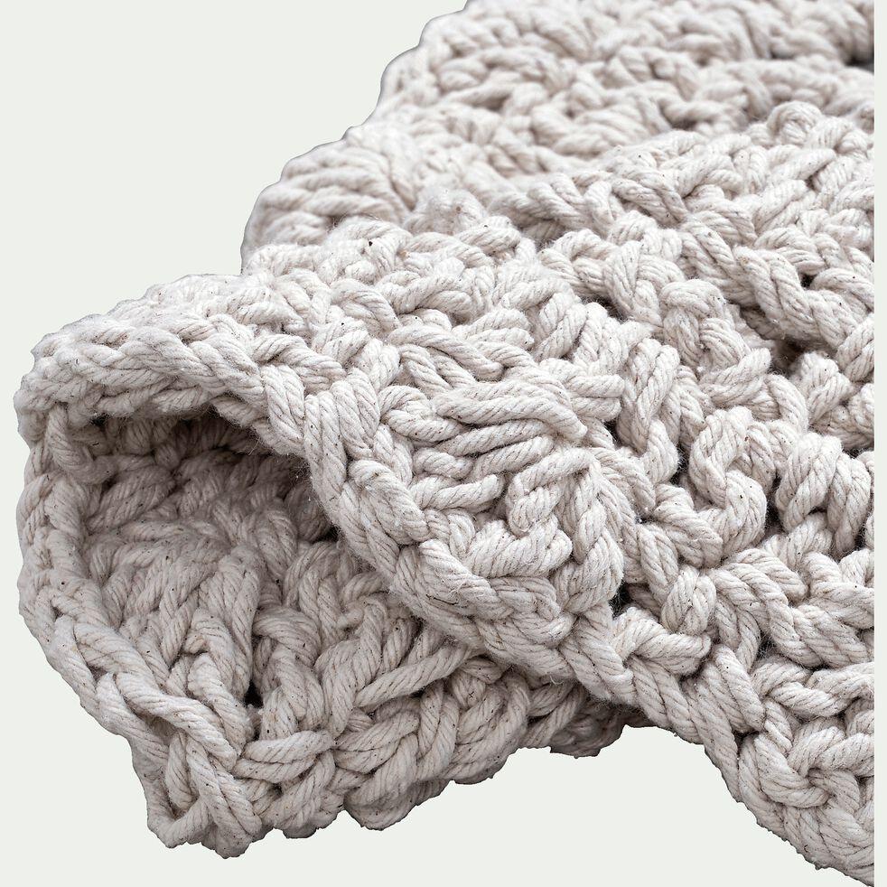 Tapis rond en coton imitation macramé - beige D90cm-FERIAS