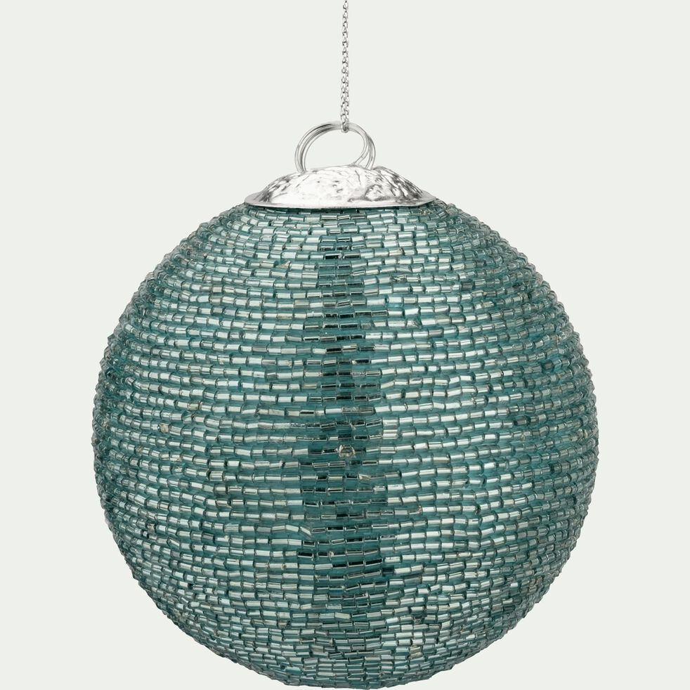 Boule de Noël perlée bleu D8cm-SANH